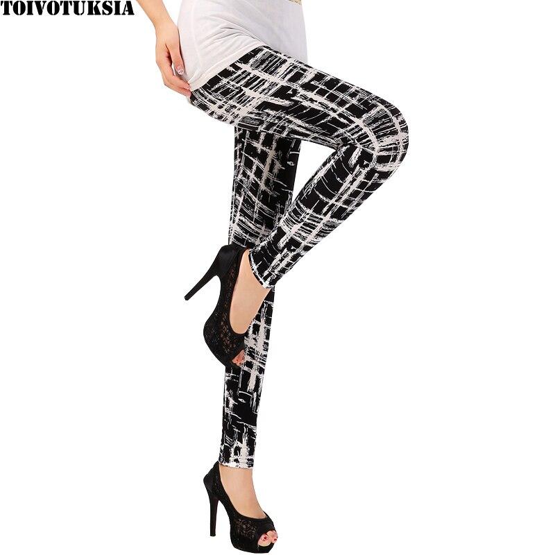 TOIVOTUKSIA Women Leggings Pantalones Black Milk Print Leggings Summer Style Soft Skin Material Nine Women Leggins