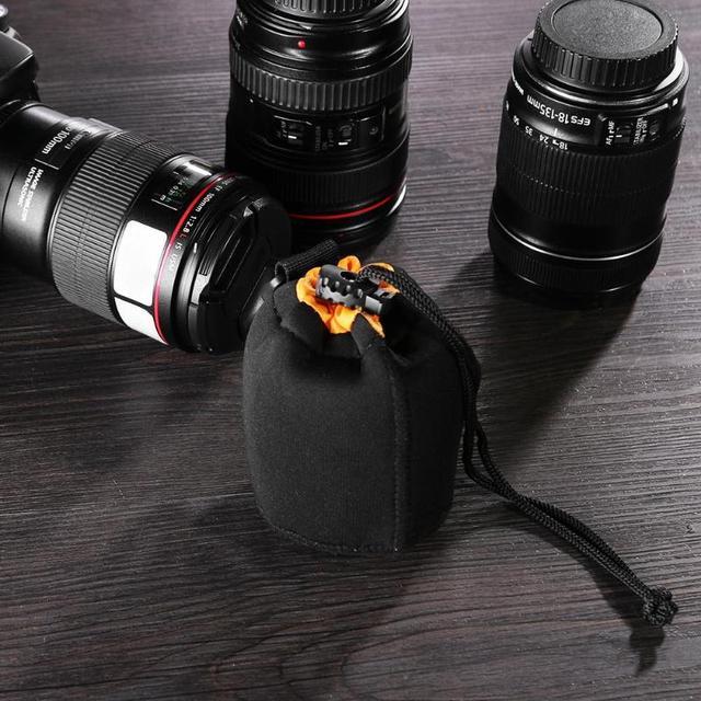 1Pcs Camera Lens Pouch Bag Neoprene Waterproof Soft Video Camera Lens Pouch Bag Case Full Size S M L XL Camera Lens Protector 5