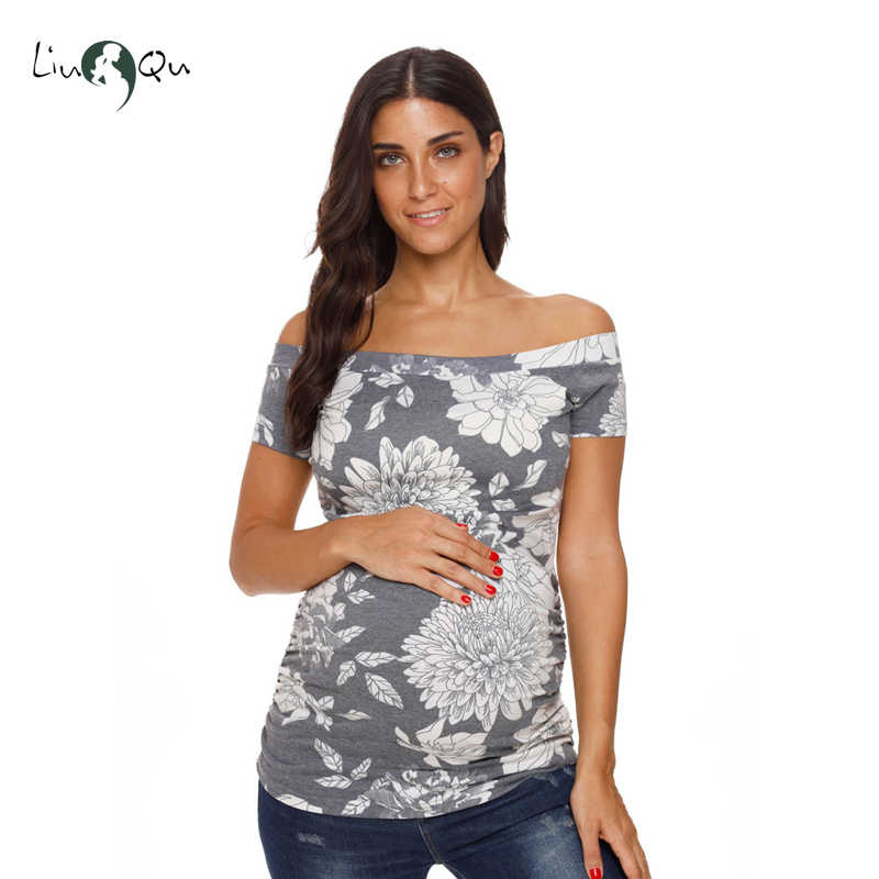 1ad7230a03049 ... Womens Maternity Tops Off Shoulder T shirt Short Sleeve Striped Side  Ruched Pregnancy Clothes Mama T ...