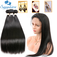 Sapphire Straight Remy Human Hair Bundles With 360 Lace Frontal Closure Brazilian Hair Weave Bundles With