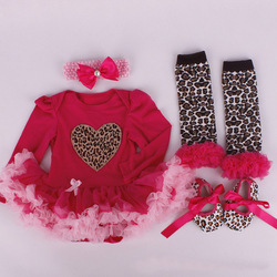 Brand  Christmas Cotton Baby Kids 0-12Months Infant Dress Europe HA TUTU Baby Romper With Leg Warmers  Four-piece Suit