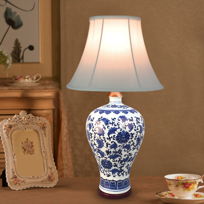 Chinese Hand-painted Ceramic Table Lamps Classic Modern White Cloth Shade E27 LED Lamp For Table&studio&bedside&foyer ZSTCDSC001