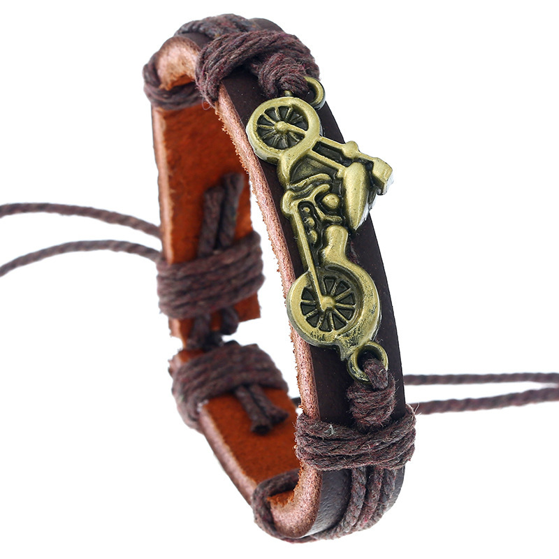 Concise Restore Ancient Ways Weave Cowhide Cross Border Jewelry Alloy Motorcycle Leather Man Bracelet Retro
