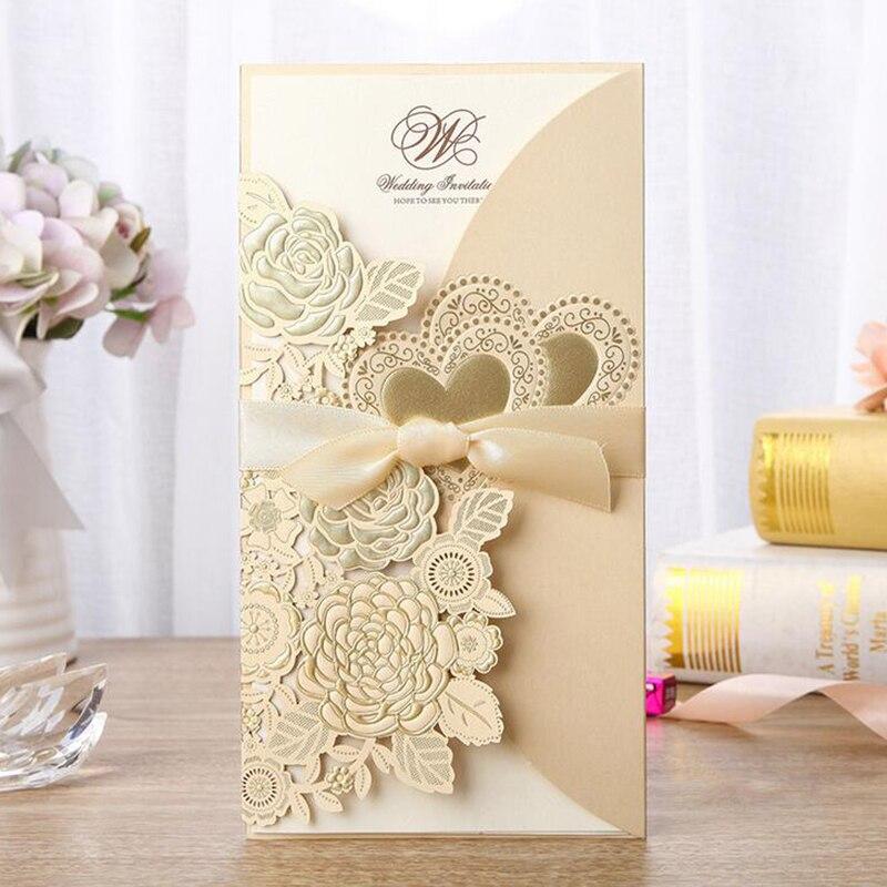 1 pcs Gold สีขาวสีแดงเลเซอร์ตัดบัตรเชิญงานแต่งงาน Rose Love Heart การ์ดอวยพรปรับแต่งด้วย Ribbon Wedding Party อุปกรณ์
