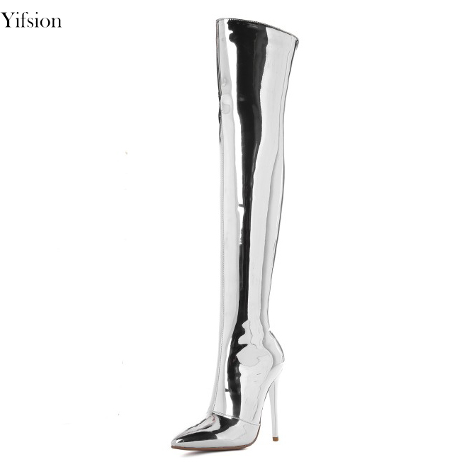 Olomm New Fashion Women Over The Knee Boots Sexy Thin High Heels Boots Pointed Toe Silver