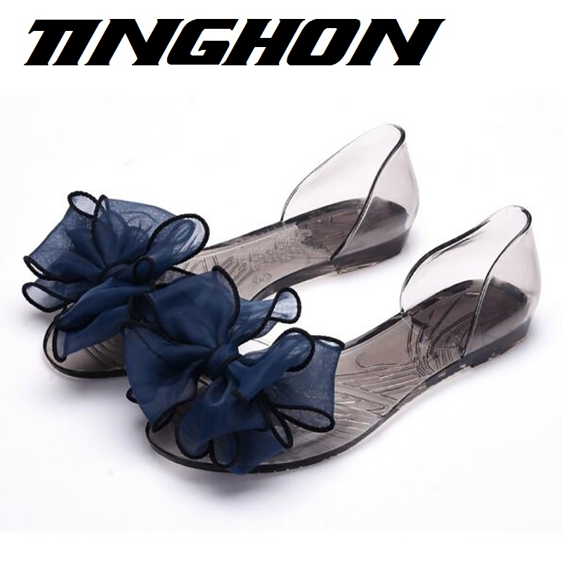 TINGHON  Women Jelly Sandals Beach Jelly Shoes Woman Summer Flip Flops Flowers Bowtie Slippers Slip On Flats Casual Women Shoes black lcd screen display with touch digitizer frame assembly for lg google nexus 5 d820 d821 free tools and free shipping