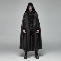 PUNK RAVE Men Gothic Retro Mysterious Cloak Men's Halloween Perform Vampire Cloak Cape Men Steampunk Hooded Long Coat