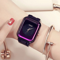 Simple and Durable Starry Face Square Ladies Watch Stainless Steel Strap Watch Man Watch 2018