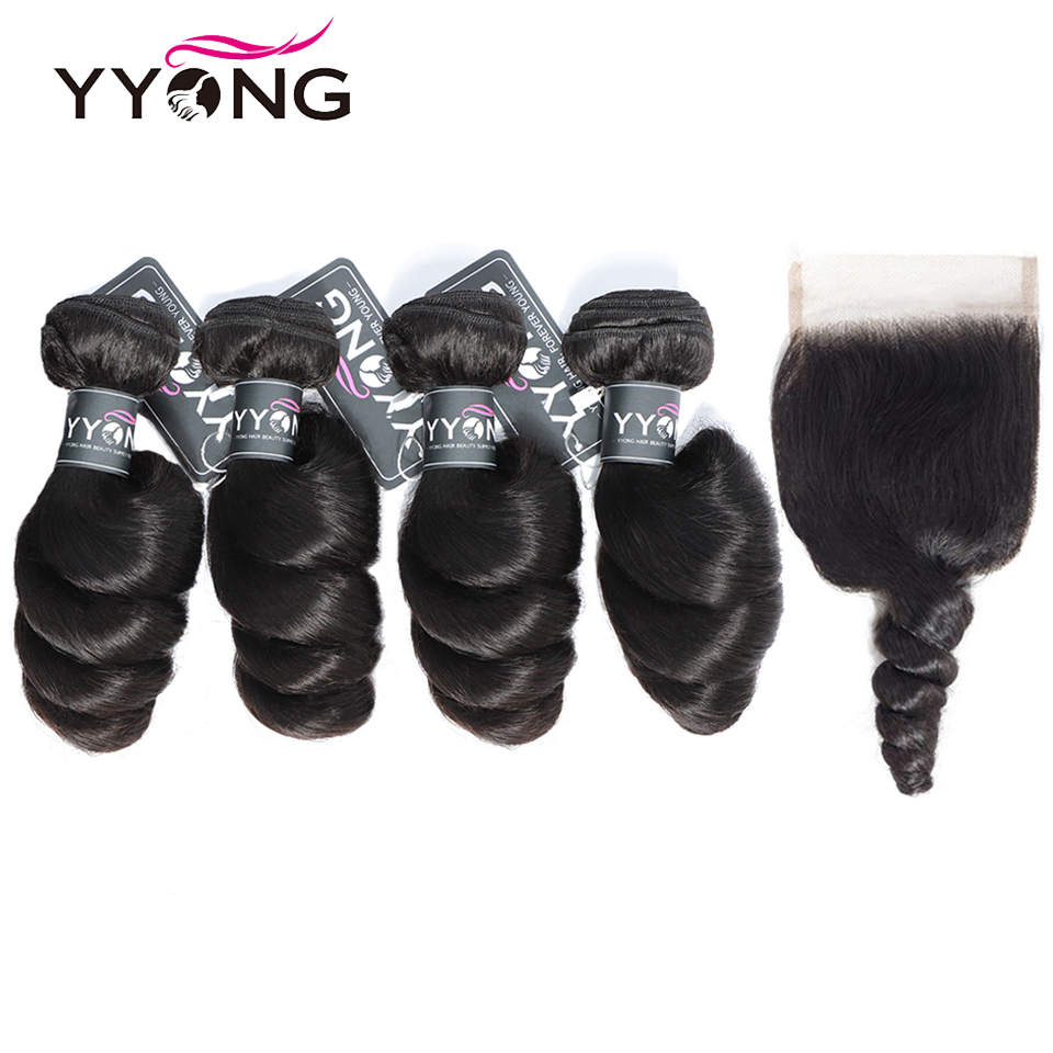 Yyong Brazilian Loose Wave Bundles With Closure 100% Human Hair Weave 4 Bundles With Lace Closure No Shedding No Tangle Remy