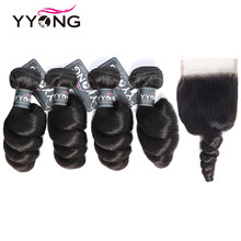 Yyong Brazilian Loose Wave Bundles With Closure 100% Human Hair Weave 4 Bundles With Lace Closure No Shedding No Tangle Non Remy(China)