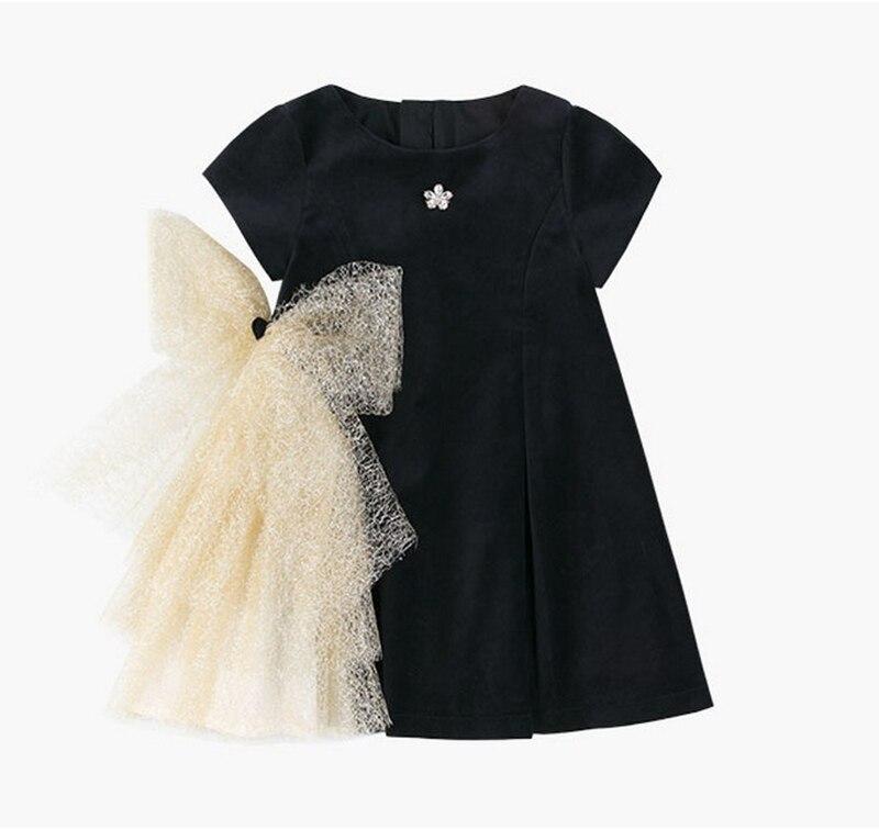 Платье с золотым бантом для девочек; коллекция 2019 года; детские черные бархатные платья для девочек; платье принцессы для вечеринки и свадьбы; детские летние платья-in Платья from Мать и ребенок