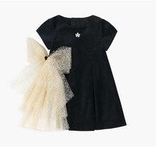 女の子ゴールド弓ドレス 2019 子供黒ベルベットドレスための王女パーティーウェディングドレス子供の夏のドレス