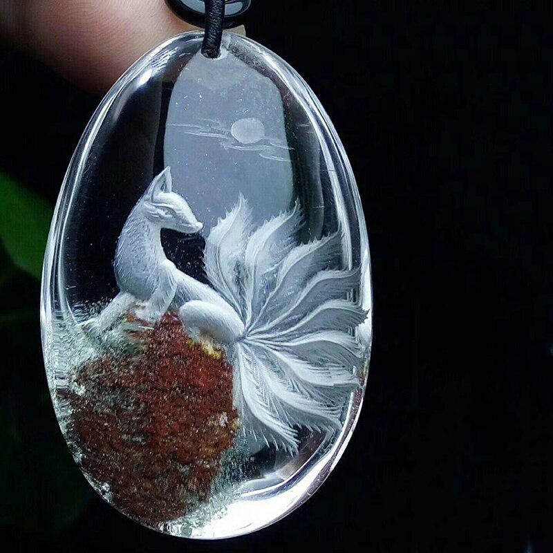 Fleur naturel fantôme cristal pendentifs sculpté à la main neuf queues renard chandail chaîne collier chanceux pour les femmes hommes cristal bijoux