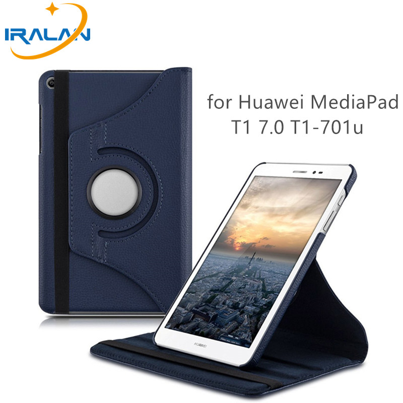 цена 360 rotating Leather Flip Case for Huawei MediaPad T1 701u Tablet Case for Huawei T1 7.0 T1-701u Tablet Lychee pattern Cover+pen