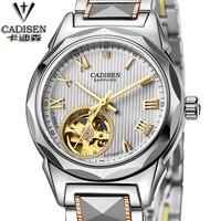 Mechanical Watch Women CADISEN Automatic Self Wind Wristwatch Casual Stainless Steel Strap Skeleton Female Gift