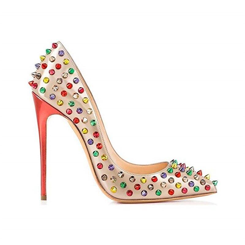 rot Heels Shiny Hochzeit multicolor Stylesowner Spike Pumpen Schwarzes Dekoration Frauen Schuhe Marke Qualität Hohe Edelstein Multi farbe Bling Glitter A66wqTnZ