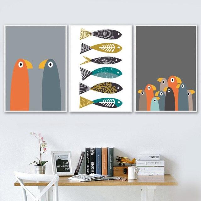Wall Art Canvas Posters And Prints Cartoon Abstract Bird Fish Canvas