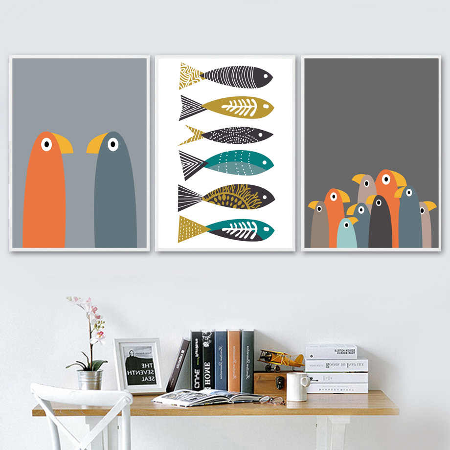 Wall Art Canvas Posters And Prints Cartoon Abstract Bird Fish Canvas Painting Wall Pictures Baby Nordic Style Kids Decoration
