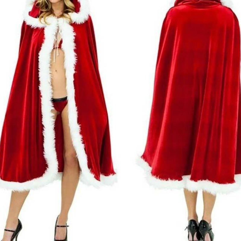 Little Red Riding Hood Cosplay Faux Fur Cloak Long Bridal Wraps Jacket Winter Warm Coats Capes Christmas Wraps Cloaks Cosplay