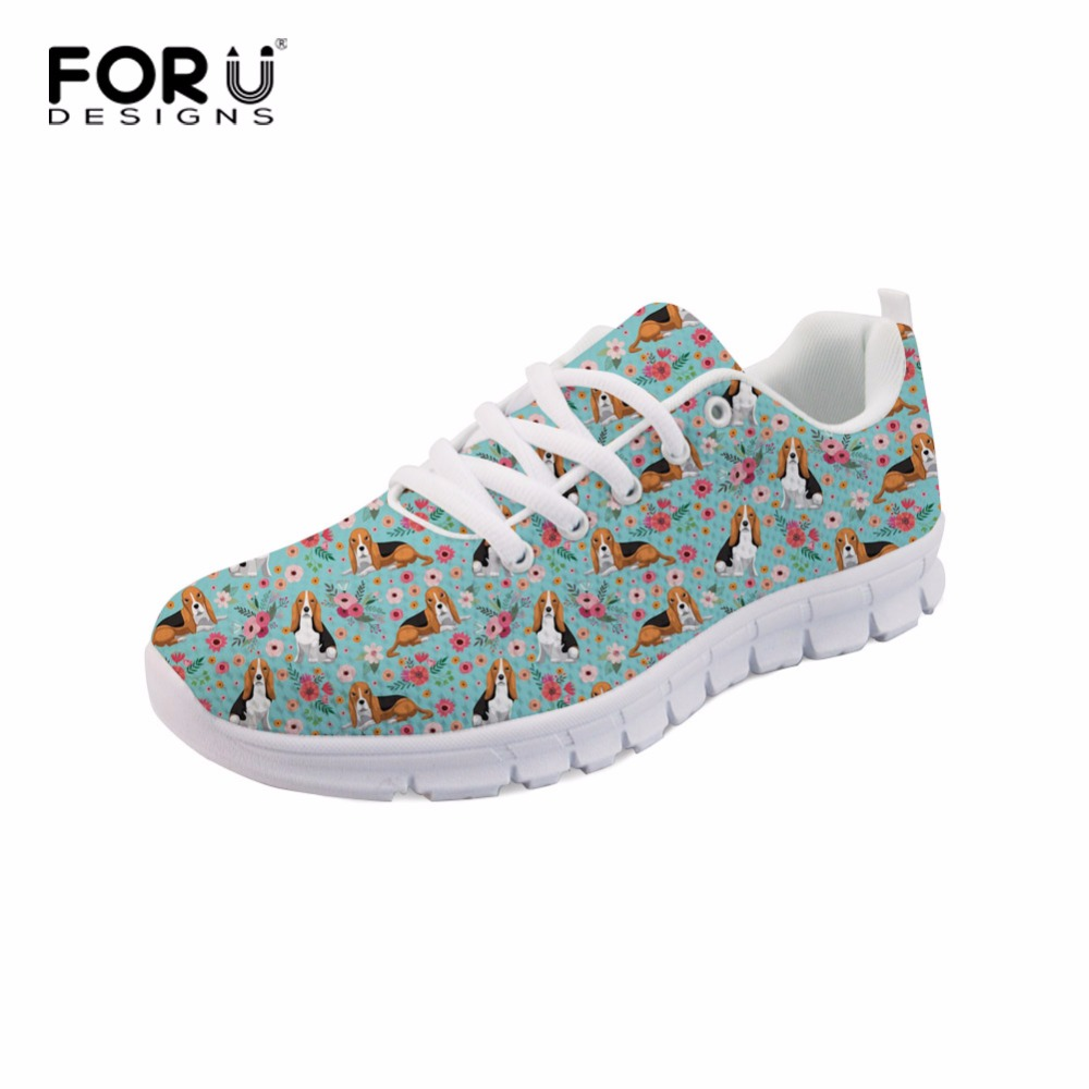 FORUDESIGNS Beagle Pattern Casual Shoes Ladies Shoes Sneakers Women - Kasut wanita