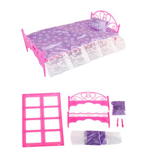 Pretend Play Toy For Children Plastic Bed Bedroom Furniture For Dolls Dollhouse Furniture Toy Pink Color(China)