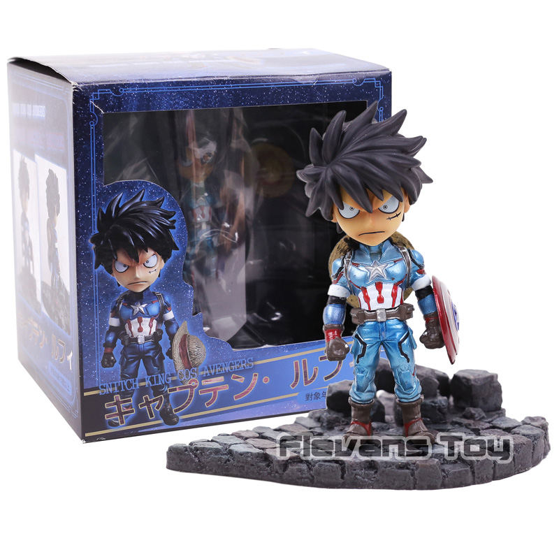New Comic Anime One Piece Monkey D Luffy Cos Super Hero Captain America Sd 13cm Figure Figurine Toys Toys & Hobbies