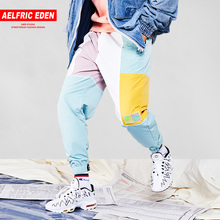 Aelfric Eden Mens Color Patchwork Cargo Pants 2018 Casual Harem Joggers Harajuku Hip Hop Fashion Tactical Male Streetwear UR63(China)