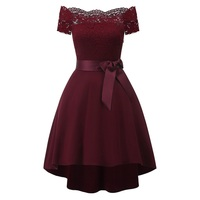 Off shoulder lace patchwork high low swing party dress burgundy Robe vintage 50s 60s Women rockabilly short sleeve pin up dress