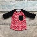 Meninas do bebê algodão V-dia vermelho Do Damasco rangalns raglans boutique meninas algodão crianças irritar manga raglans do dia Valentien