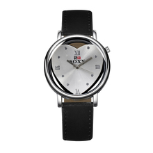 Romantic Heart-shaped Women Watches Fashion Hollow Black White Leather Casual Clock Wrist Watches Vindicate Gifts Girls FD0817