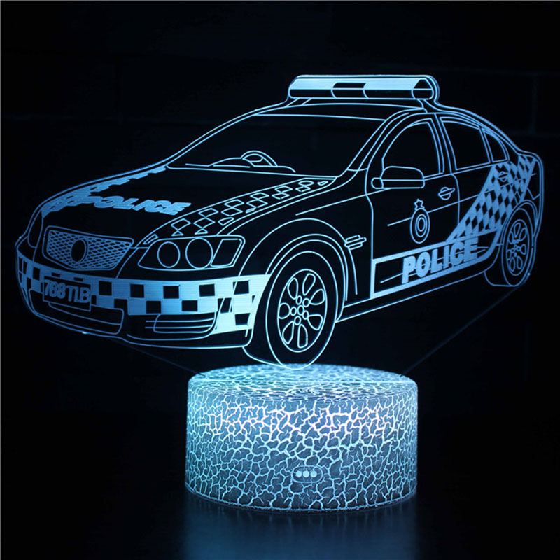 Magiclux Novelty Lighting 3D Illusion LED Lamp Police Car Model Night Lights For Kids Bedroom Decoration Creative Gift Lamps