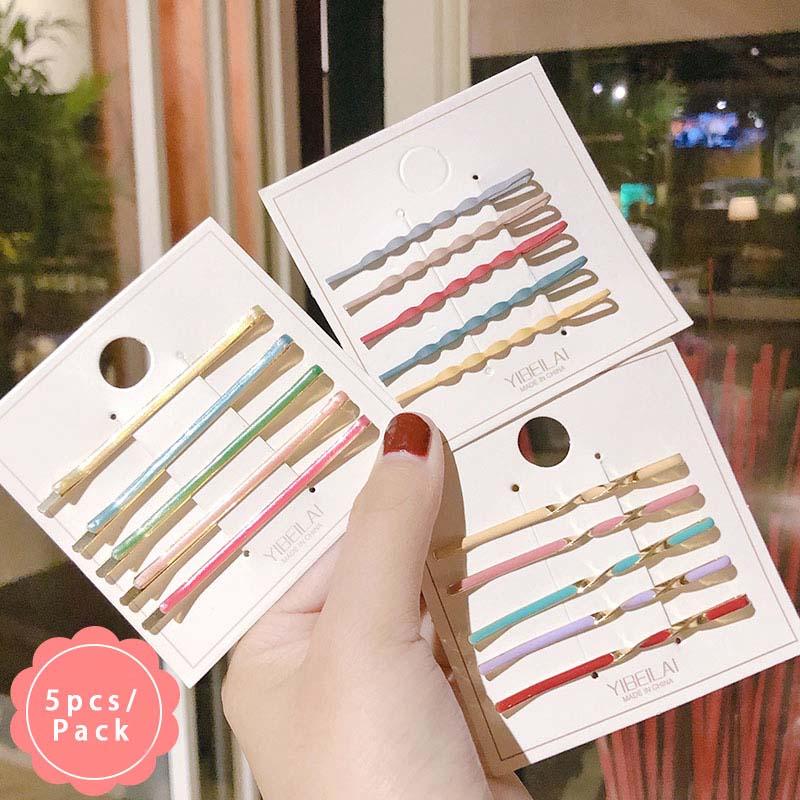 5PCS/Set New Women Girls Cute Candy Colors Drip Oil Alloy Barrettes Sweet Hair Clips Hairpins Headband Fashion Hair Accessories