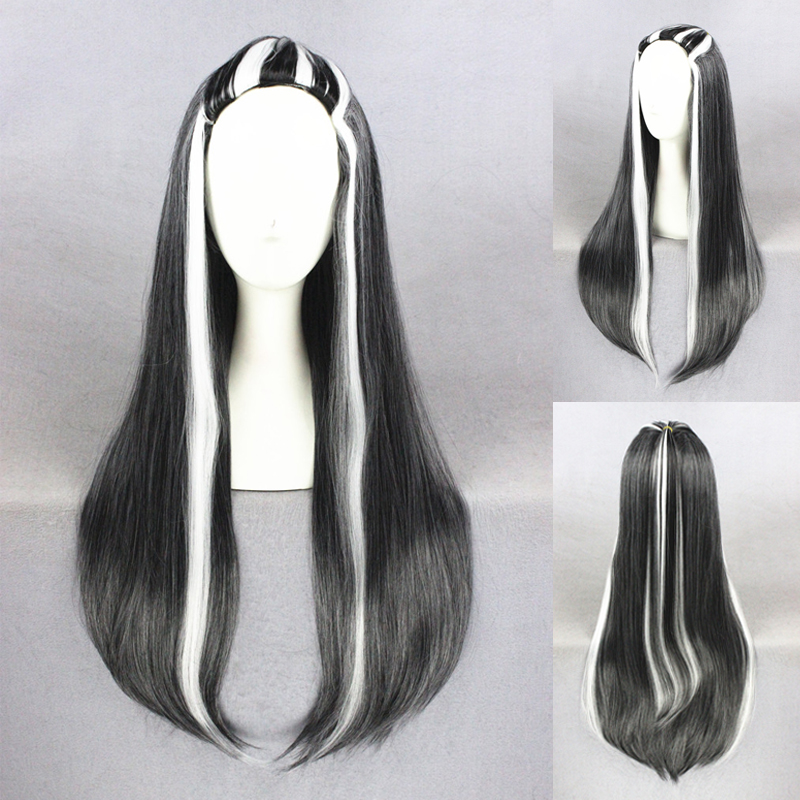Movie monster black white highlights wigs cosplay for costume movie monster black white highlights wigs cosplay for costume party synthetic straight long frankie stein hair wig 32inch on aliexpress alibaba group urmus Gallery
