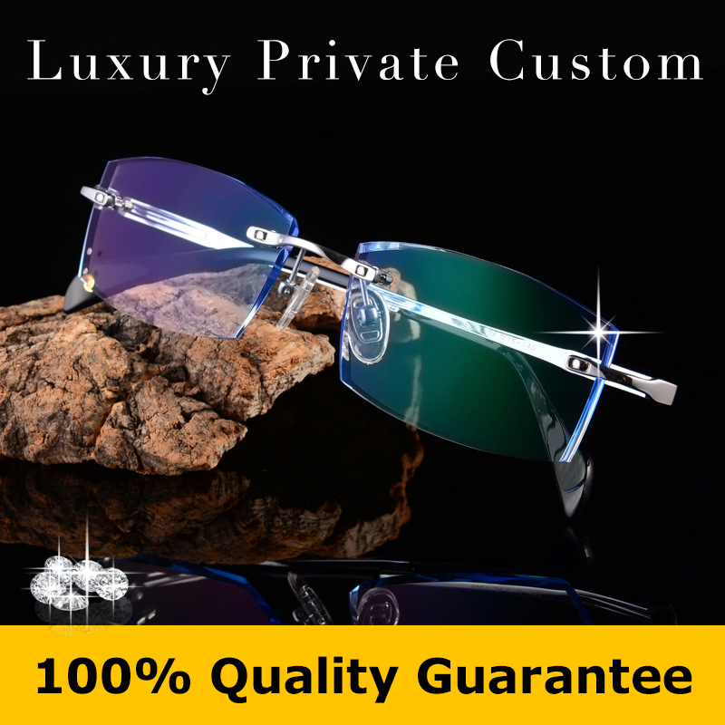 Titanium Rimless Eyeglasses Man Luxury Glasses Anti UV400 Protection Optical Frame Glasses Prescription Eye Glass Reading 620