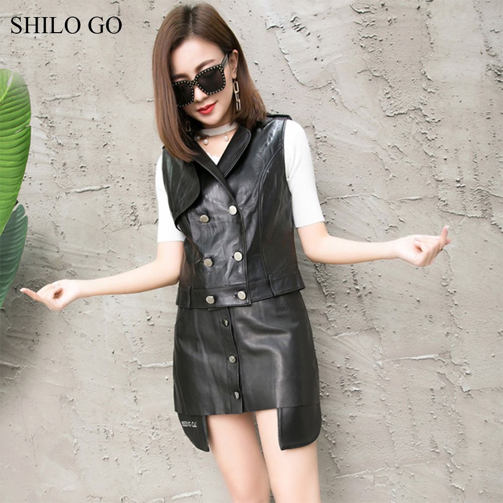 SHILO GO Leather Suit Womens Spring Fashion sheepskin genuine leather Sets lapel collar double breasted vest concise skirts