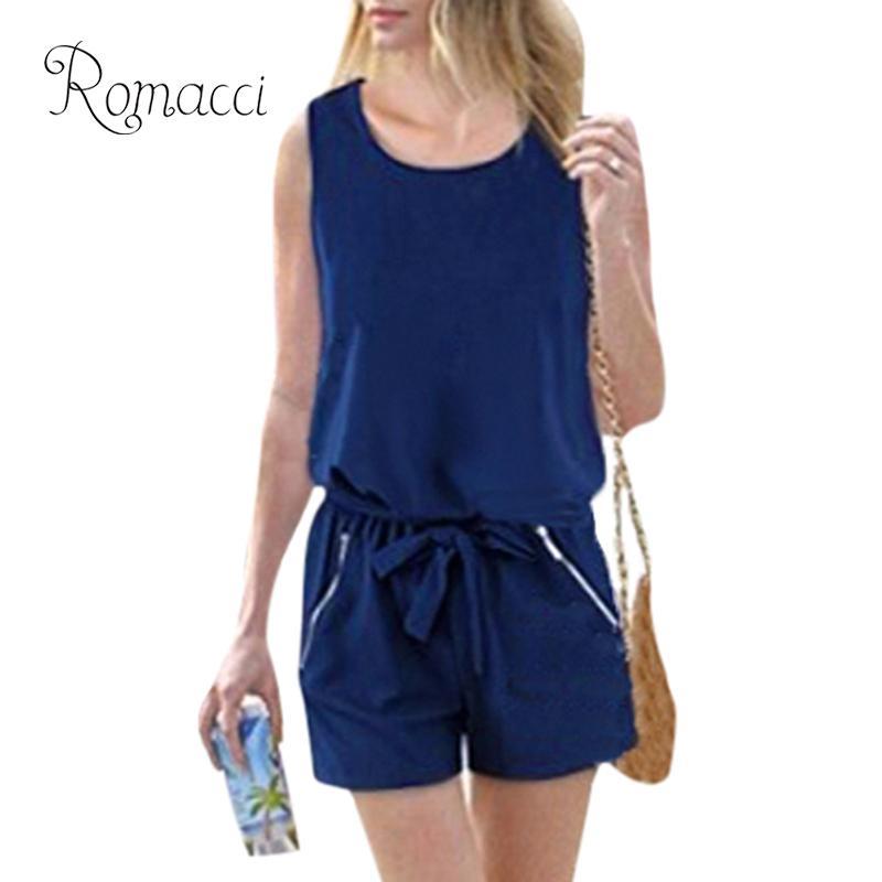 Romacci Summer Rompers Womens   Jumpsuit   Sexy 5XL Plus Size Playsuit Elegant   Jumpsuit   Short Casual Button Bodysuit With Self-tie