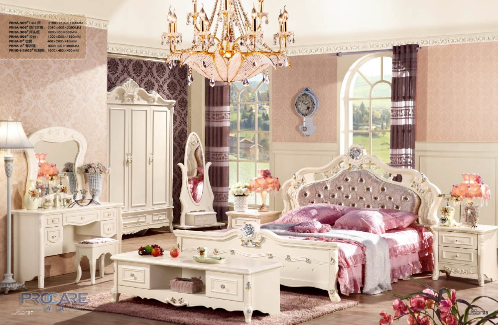 Best Price Foshan Princess Kids Bed Bedroom Furniture Sets With 4 Doors Wardrobe Beside Table Dressing Table Dressing Mirror 909