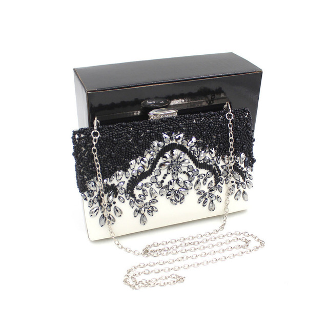 Milisente Women Clutch Bag Ladies Wedding Bags Black White Simple Elegant Crystal Handbags Female Handmade Vintage Beaded Bag