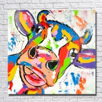 Cartoon Handpainted Wall Art Oil Painting Abstract Cow Picture On Canvas 1Peice Paintings Home Decor For
