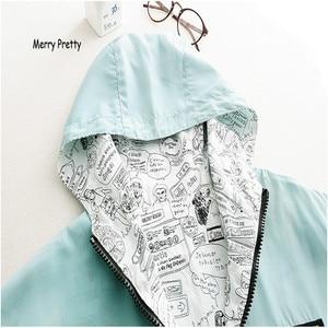 MERRY PRETTY 2018 Осенняя Женская Базовая куртка-бомбер с карманами на молнии с капюшоном Двусторонняя одежда верхняя одежда с мультяшным принтом Свободное пальто