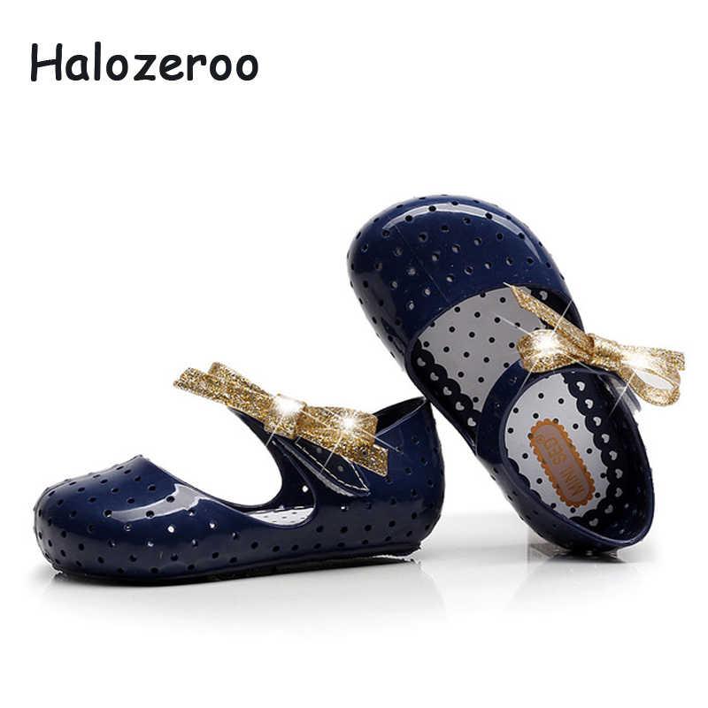 ฤดูใบไม้ผลิใหม่เด็กทารก Bow รองเท้าเด็กเลื่อมเลื่อมรองเท้าเด็กวัยหัดเดินแฟชั่นรองเท้าแตะ Jelly รองเท้าสีดำ Glitter Mary Jane 2019