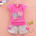 New 2016 summer baby girl clothing sets fashion Cotton print Sleeveless T-shirt + Shorts 2pcs toddler girls clothes sport suits