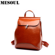 Genuine Leather Backpacks Preppey Style School Bag for Girls Vintage Brown Travel Bag Women Double Shoulder