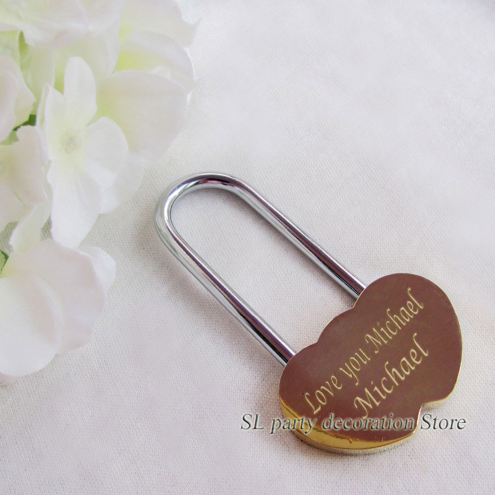 Personalized Engraved Double Heart Love Lock Mini Brass Padlock ...