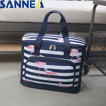SANNE Thermal Oxford Lunch Bag Waterproof Convenient Leisure Flamingo Tote Insulated Box Fresh Insulation Cold Bales