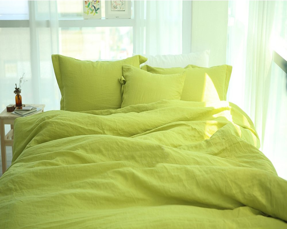 2018 Washed Green French linen bedding Queen Size Children Linen duvet cover bed New