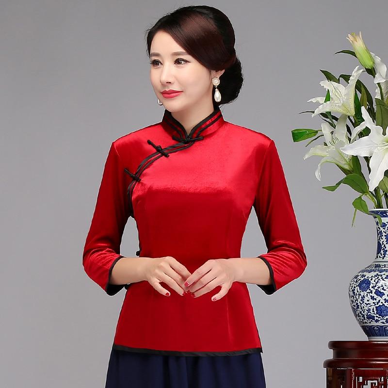 Mode rouge femmes chemise traditionnelle chinoise hauts velours Blouse dame Mandarin col Qipao Mujer Camisa nouveau S M L XL XXL XXXL