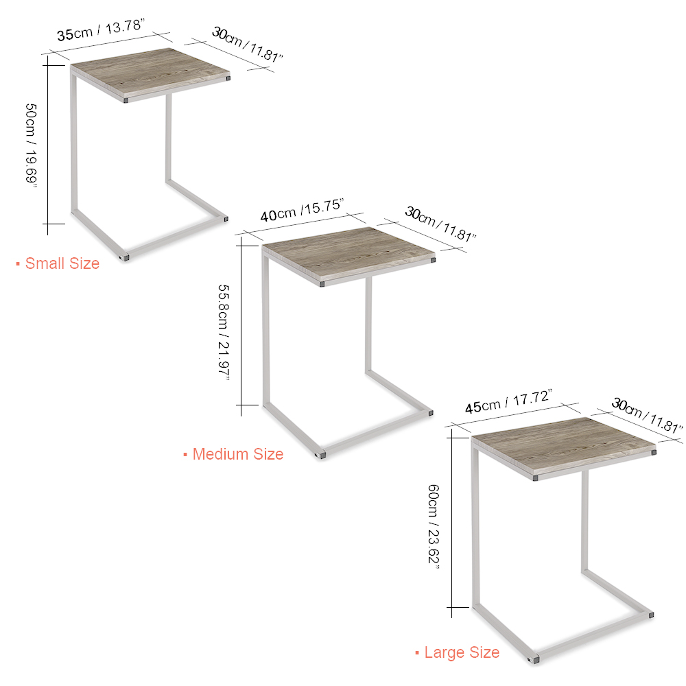 iKayaa 3PCS Metal Tables Set Sofa Couch Living Room Side End Coffee Tables Ottoman Bedroom Night Stand Home Furniture