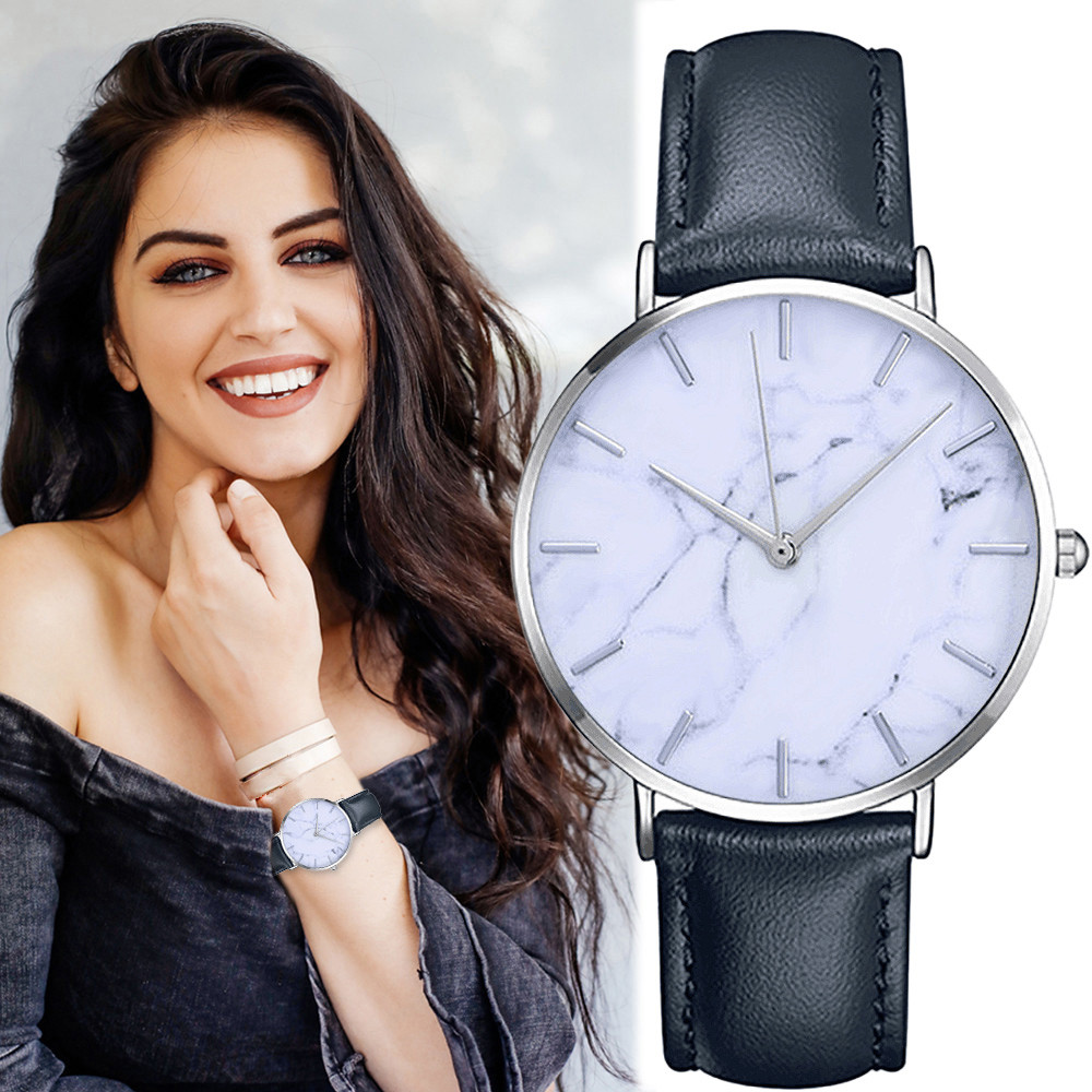 2019Women's Clock Ladies Dress Watch Simple Stylish Marble Dial Watches Men Women Slim Leather Analog Classic Casual Wrist Watch