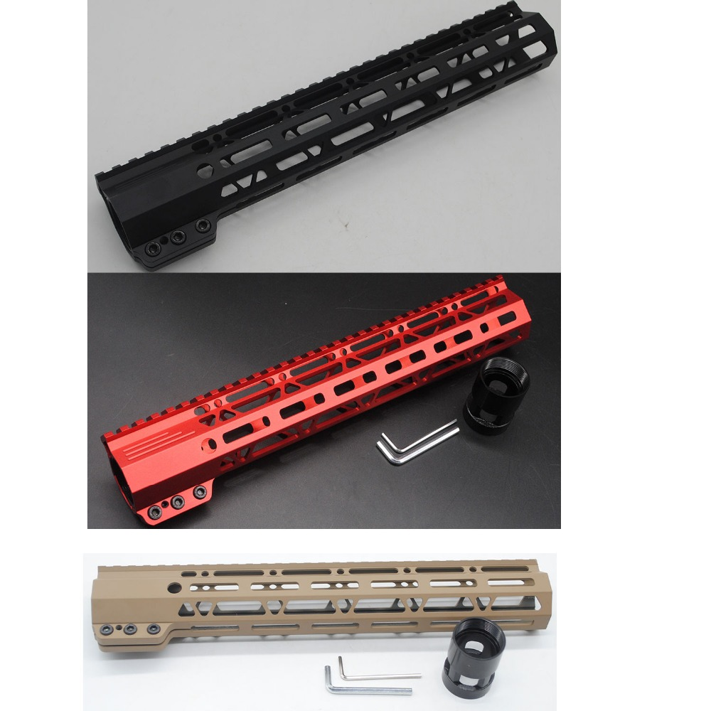 TriRock 12'' M-lok Clamp Handguard Rail Picatinny Free Float Mount System Black/Red/Tan Color Fit .223 / 5.56 Free Shipping